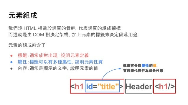 元素組成 我們說 HTML 相當於網頁的骨幹,代表網頁的組成架構 而這就是由 DOM 樹決定架構,加上元素的標籤來決定段落用途 元素的組成包含了 ● 標籤:通常成對出現,說明元素定義 ● 屬性:標籤可以有多種屬性,說明元素性質 ● 內容:通常是...