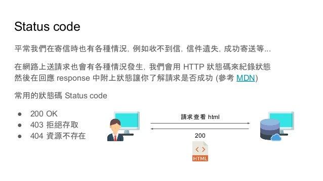 Status code 平常我們在寄信時也有各種情況,例如收不到信,信件遺失,成功寄送等... 在網路上送請求也會有各種情況發生,我們會用 HTTP 狀態碼來紀錄狀態 然後在回應 response 中附上狀態讓你了解請求是否成功 (參考 MDN...