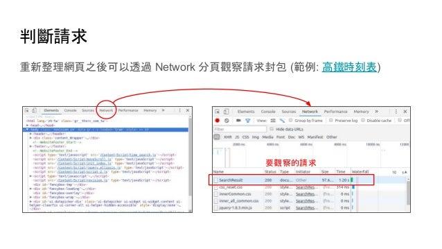 判斷請求 重新整理網頁之後可以透過 Network 分頁觀察請求封包 (範例: 高鐵時刻表) 要觀察的請求