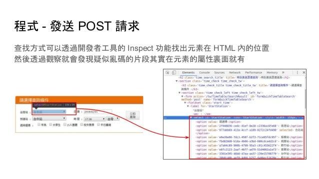 程式 - 發送 POST 請求 查找方式可以透過開發者工具的 Inspect 功能找出元素在 HTML 內的位置 然後透過觀察就會發現疑似亂碼的片段其實在元素的屬性裏面就有