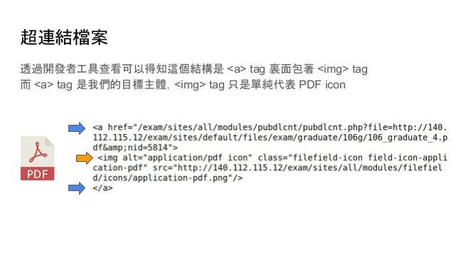 超連結檔案 透過開發者工具查看可以得知這個結構是 <a> tag 裏面包著 <img> tag 而 <a> tag 是我們的目標主體,<img> tag 只是單純代表 PDF icon