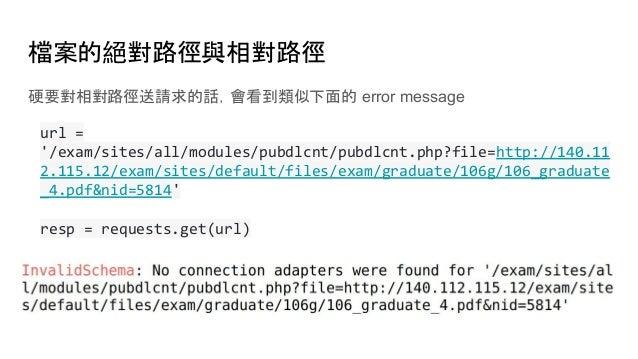 檔案的絕對路徑與相對路徑 硬要對相對路徑送請求的話,會看到類似下面的 error message url = '/exam/sites/all/modules/pubdlcnt/pubdlcnt.php?file=http://140.11 2...