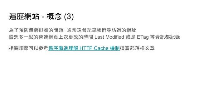 遍歷網站 - 概念 (3) 為了預防無窮迴圈的問題,通常還會紀錄我們尋訪過的網址 設想多一點的會連網頁上次更改的時間 Last Modified 或是 ETag 等資訊都紀錄 相關細節可以參考循序漸進理解 HTTP Cache 機制這篇部落格文章