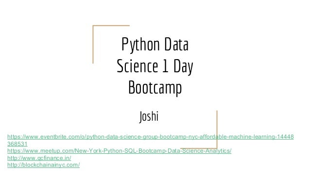 Python Data Science Group Bootcamp NYC (Affordable Machine