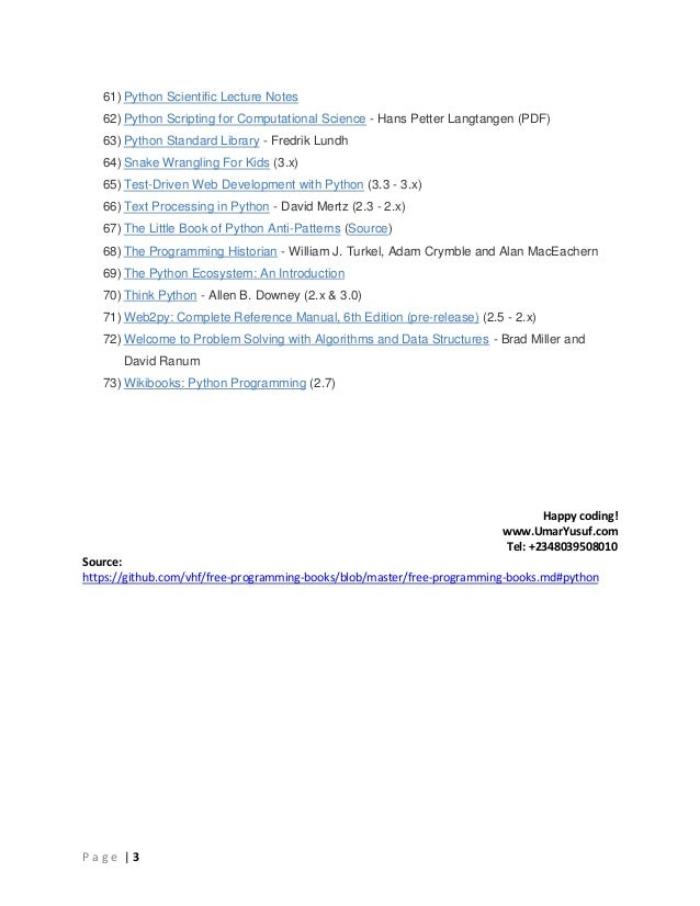 70+ Free Python Programming Language Learning Resources
