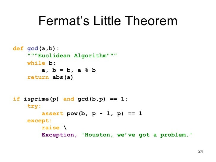 fermat s little theorem Welcome to the prime glossary: a collection of definitions, information and facts all related to prime numbers this pages contains the entry titled 'fermat's little theorem.