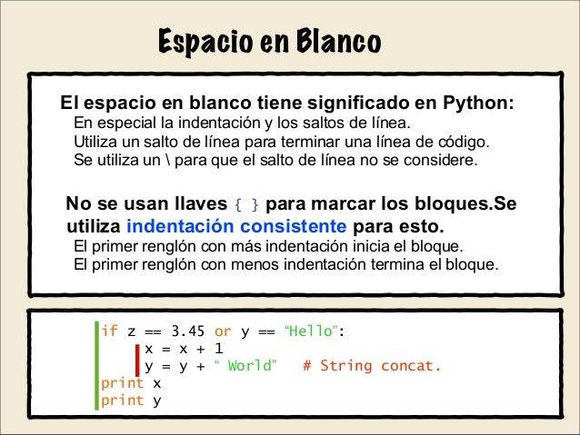 Python para principiantes - Espacio en blanco ...