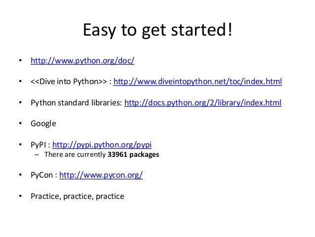 Python introduction - Dive into python ...