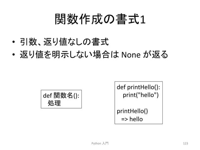 㛵ᩘసᡂ䛾᭩ᘧ1  • ᘬᩘ䚸㏉䜚್䛺䛧䛾᭩ᘧ  • ㏉䜚್䜢♧䛧䛺䛔ሙྜ䛿  None  䛜㏉䜛  Python  ධ㛛  123  def  㛵ᩘྡ():  ฎ⌮  def  printHello():  print(hello)  pr...