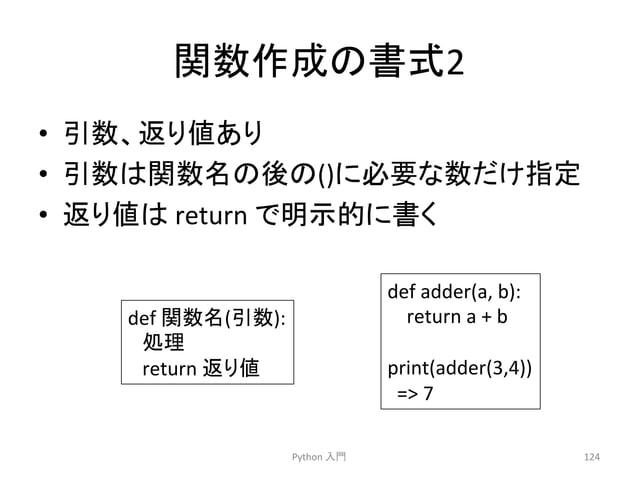 㛵ᩘసᡂ䛾᭩ᘧ2  • ᘬᩘ䚸㏉䜚್䛒䜚  • ᘬᩘ䛿㛵ᩘྡ䛾ᚋ䛾()䛻ᚲせ䛺ᩘ䛰䛡ᣦᐃ  • ㏉䜚್䛿  return  䛷♧ⓗ䛻᭩䛟  Python  ධ㛛  124  def  㛵ᩘྡ(ᘬᩘ):  ฎ⌮  return  ㏉䜚್  de...