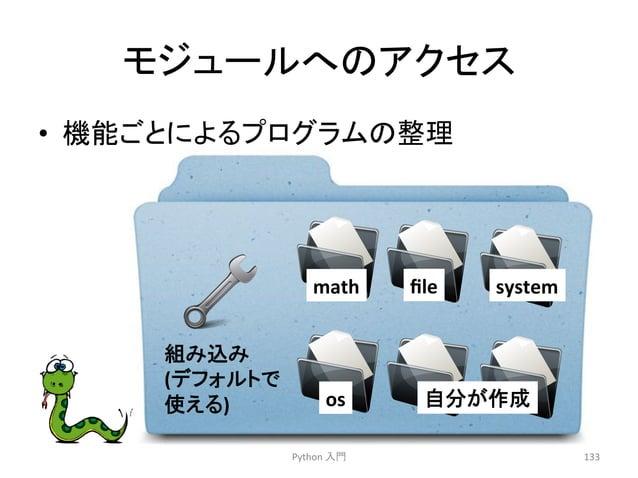 䝰䝆䝳䞊䝹䜈䛾䜰䜽䝉䝇  • ᶵ⬟䛤䛸䛻䜘䜛䝥䝻䜾䝷䝮䛾ᩚ⌮  Python  ධ㛛  133  math  file  system  os  ⮬ศ䛜సᡂ  ⤌䜏㎸䜏  (䝕䝣䜷䝹䝖䛷  䛘䜛)