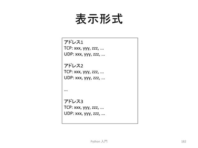 ⾲♧ᙧᘧ  Python  ධ㛛  182  䜰䝗䝺䝇1  TCP:  xxx,  yyy,  zzz,  ...  UDP:  xxx,  yyy,  zzz,  ...  䜰䝗䝺䝇2  TCP:  xxx,  yyy,  zzz,  ......