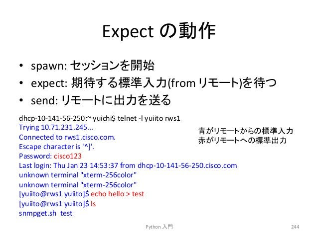 Expect  䛾ືస  • spawn:  䝉䝑䝅䝵䞁䜢㛤ጞ  • expect:  ᮇᚅ䛩䜛ᶆ‽ධຊ(from  䝸䝰䞊䝖)䜢ᚅ䛴  • send:  䝸䝰䞊䝖䛻ฟຊ䜢㏦䜛  Python  ධ㛛  244  dhcp-‐10-‐141...