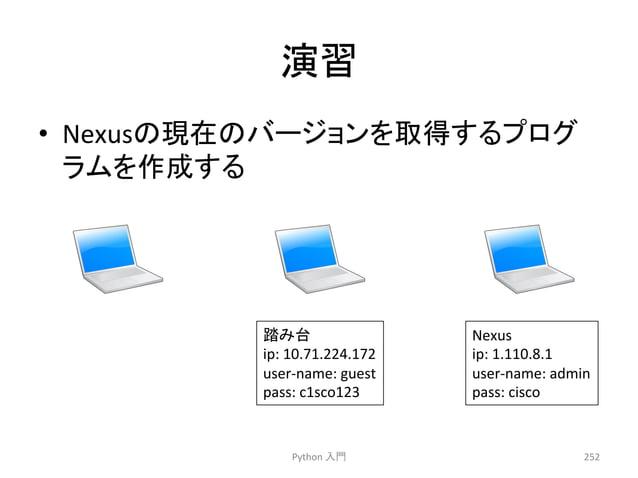 ₇⩦  • Nexus䛾⌧ᅾ䛾䝞䞊䝆䝵䞁䜢ྲྀᚓ䛩䜛䝥䝻䜾  䝷䝮䜢సᡂ䛩䜛  Python  ධ㛛  Nexus  ip:  1.110.8.1  user-‐name:  admin  pass:  cisco  252  ㋃䜏ྎ  ip:...