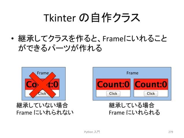 Tkinter  䛾⮬స䜽䝷䝇  • ⥅ᢎ䛧䛶䜽䝷䝇䜢స䜛䛸䚸Frame䛻䛔䜜䜛䛣䛸  䛜䛷䛝䜛䝟䞊䝒䛜స䜜䜛  Python  ධ㛛  279  Frame  Frame  ⥅ᢎ䛧䛶䛔䛺䛔ሙྜ  Frame  䛻䛔䜜䜙䜜䛺䛔  ⥅ᢎ䛧䛶䛔䜛ሙ...