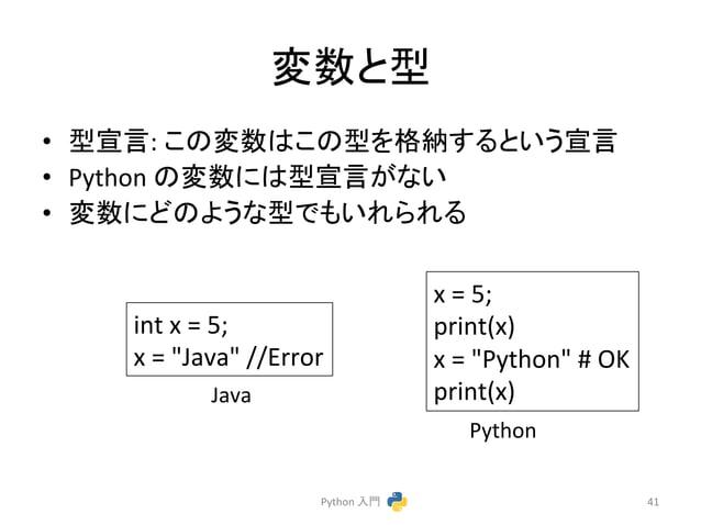 """ኚᩘ䛸ᆺ  • ᆺᐉゝ:  䛣䛾ኚᩘ䛿䛣䛾ᆺ䜢᱁⣡䛩䜛䛸䛔䛖ᐉゝ  • Python  䛾ኚᩘ䛻䛿ᆺᐉゝ䛜䛺䛔  • ኚᩘ䛻䛹䛾䜘䛖䛺ᆺ䛷䜒䛔䜜䜙䜜䜛  Python  ධ㛛  41  int  x  =  5;  x  =  """"Java""""  ..."""