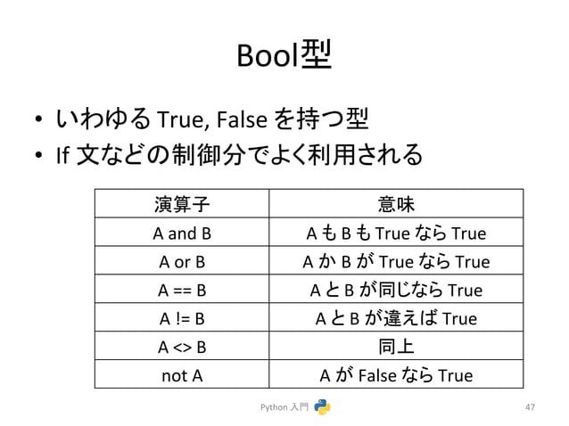 Boolᆺ  • 䛔䜟䜖䜛  True,  False  䜢ᣢ䛴ᆺ  • If  ᩥ䛺䛹䛾ไᚚศ䛷䜘䛟⏝䛥䜜䜛  Python  ධ㛛  47  ₇⟬Ꮚ  ព  A  and  B  A  䜒  B  䜒  True  䛺䜙  True  ...