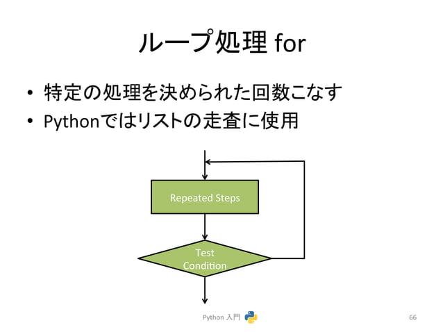 䝹䞊䝥ฎ⌮  for  • ≉ᐃ䛾ฎ⌮䜢Ỵ䜑䜙䜜䛯ᅇᩘ䛣䛺䛩  • Python䛷䛿䝸䝇䝖䛾㉮ᰝ䛻⏝  Python  ධ㛛  66  Repeated  Steps  Test  Condicon