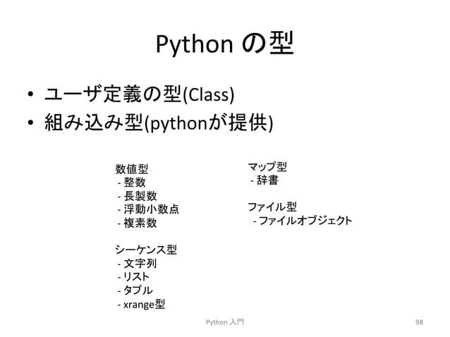 Python  䛾ᆺ  • 䝴䞊䝄ᐃ⩏䛾ᆺ(Class)  • ⤌䜏㎸䜏ᆺ(python䛜ᥦ౪)  Python  ධ㛛  98  ᩘ್ᆺ  -‐  ᩚᩘ  -‐  㛗〇ᩘ  -‐  ᾋືᑠᩘⅬ  -‐  」⣲ᩘ  䝅䞊䜿䞁䝇ᆺ  -...