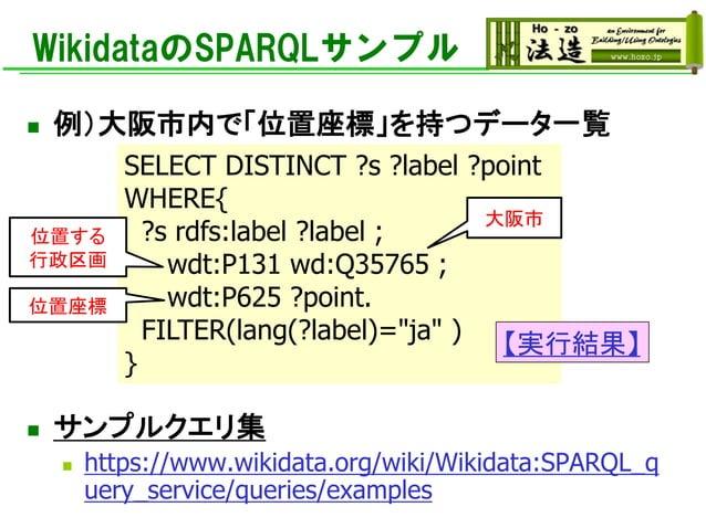 WikidataのSPARQLサンプル ◼ 例)大阪市内で「位置座標」を持つデータ一覧 ◼ サンプルクエリ集 ◼ https://www.wikidata.org/wiki/Wikidata:SPARQL_q uery_service/quer...