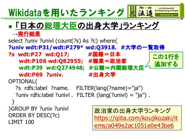 Wikidataを用いたランキング ◼ 「日本の総理大臣の出身大学」ランキング →実行結果 select ?univ ?univl (count(?s) As ?c) where{ ?univ wdt:P31/wdt:P279* wd:Q391...