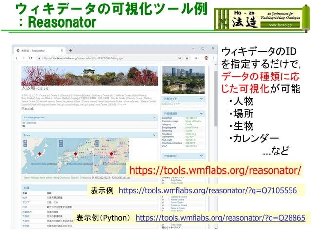 ウィキデータの可視化ツール例 :Reasonator https://tools.wmflabs.org/reasonator/ ウィキデータのID を指定するだけで, データの種類に応 じた可視化が可能 ・人物 ・場所 ・生物 ・カレンダー ...