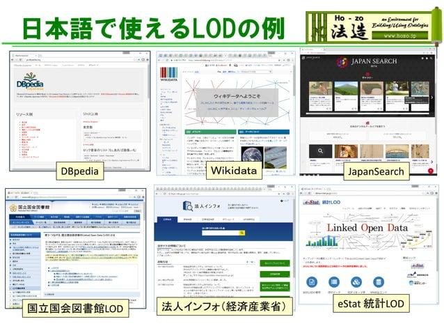 日本語で使えるLODの例 法人インフォ(経済産業省) eStat 統計LOD国立国会図書館LOD DBpedia Wikidata JapanSearch