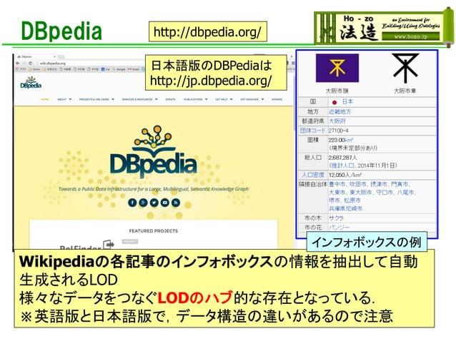 DBpedia Wikipediaの各記事のインフォボックスの情報を抽出して自動 生成されるLOD 様々なデータをつなぐLODのハブ的な存在となっている. ※英語版と日本語版で,データ構造の違いがあるので注意 http://dbpedia.or...