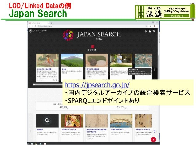 LOD/Linked Dataの例 Japan Search https://jpsearch.go.jp/ ・国内デジタルアーカイブの統合検索サービス ・SPARQLエンドポイントあり