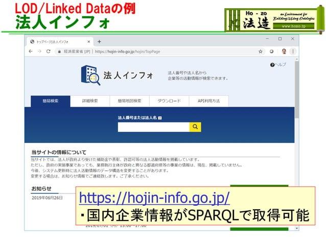 LOD/Linked Dataの例 法人インフォ https://hojin-info.go.jp/ ・国内企業情報がSPARQLで取得可能