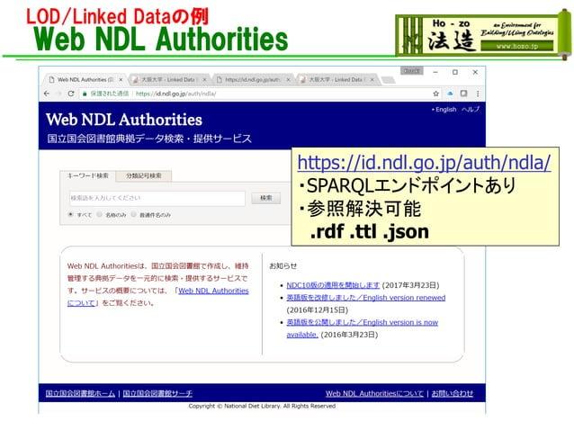 LOD/Linked Dataの例 Web NDL Authorities https://id.ndl.go.jp/auth/ndla/ ・SPARQLエンドポイントあり ・参照解決可能 .rdf .ttl .json
