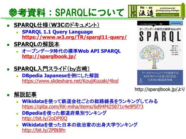 参考資料:SPARQLについて ◼ SPARQL仕様(W3Cのドキュメント) ◼ SPARQL 1.1 Query Language https://www.w3.org/TR/sparql11-query/ ◼ SPARQLの解説本 ◼ オー...