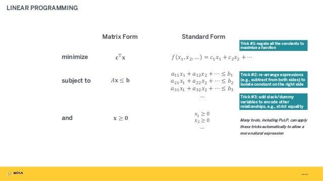"""3/31/2017 LINEAR PROGRAMMING Matrix Form Standard Form ! """"#, """"%, … = (#""""# + (%""""% + ⋯ +##""""# + +#%""""% + ⋯ ≤ -# +%#""""# + +%%""""% ..."""