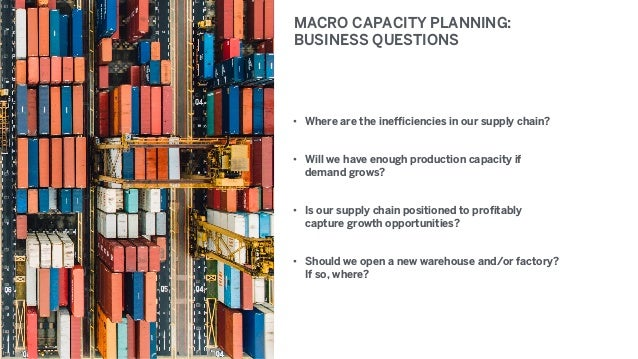 MACRO CAPACITY PLANNING: BUSINESS QUESTIONS • Where are the inefficiencies in our supply chain? • Will we have enough prod...