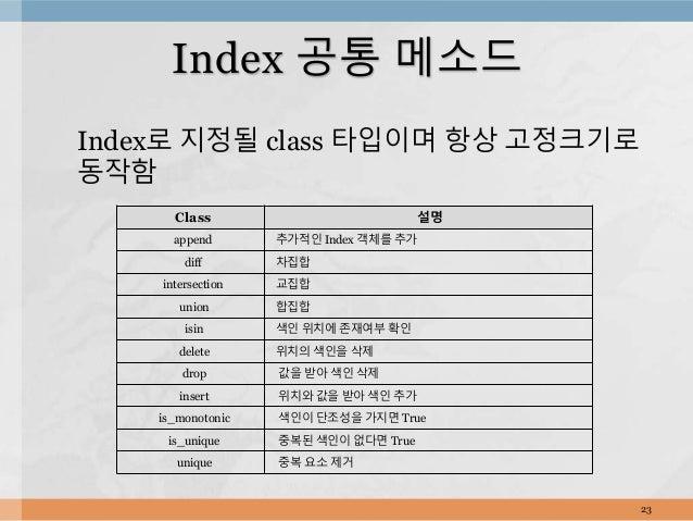 Index로 지정될 class 타입이며 항상 고정크기로 동작함 23 Index 공통 메소드 Class 설명 append 추가적인 Index 객체를 추가 diff 차집합 intersection 교집합 union 합집합 i...