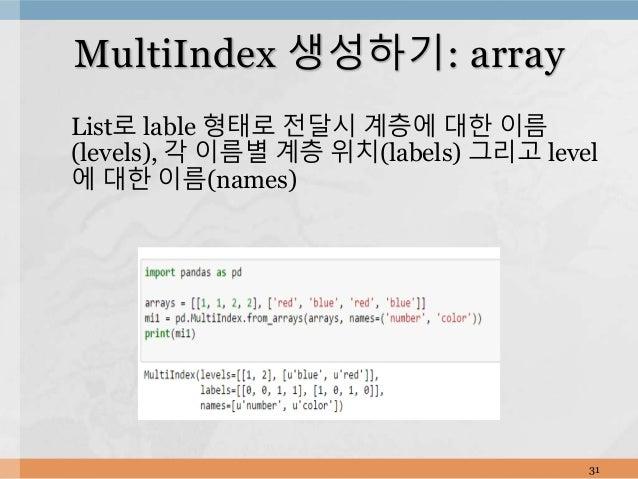 List로 lable 형태로 전달시 계층에 대한 이름 (levels), 각 이름별 계층 위치(labels) 그리고 level 에 대한 이름(names) 31 MultiIndex 생성하기: array