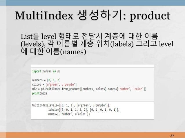 List를 level 형태로 전달시 계층에 대한 이름 (levels), 각 이름별 계층 위치(labels) 그리고 level 에 대한 이름(names) 32 MultiIndex 생성하기: product
