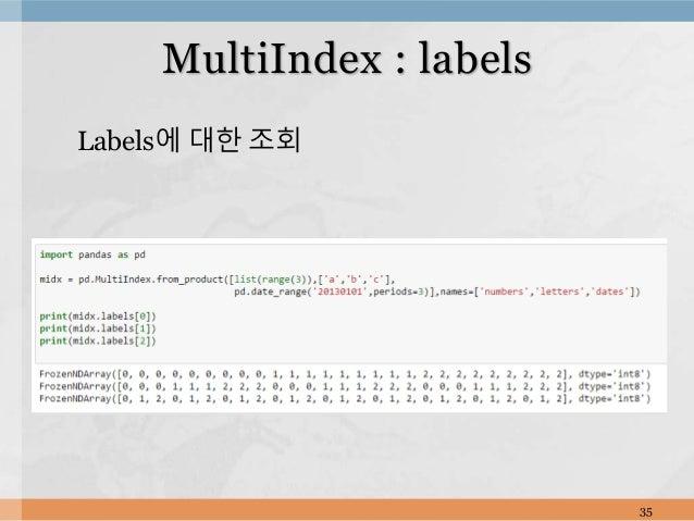 Labels에 대한 조회 35 MultiIndex : labels