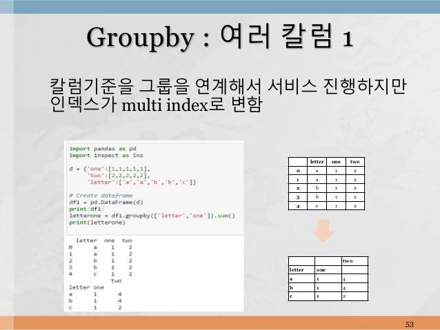 칼럼기준을 그룹을 연계해서 서비스 진행하지만 인덱스가 multi index로 변함 53 Groupby : 여러 칼럼 1 letter one two 0 a 1 2 1 a 1 2 2 b 1 2 3 b 1 2 4 c 1 2 ...
