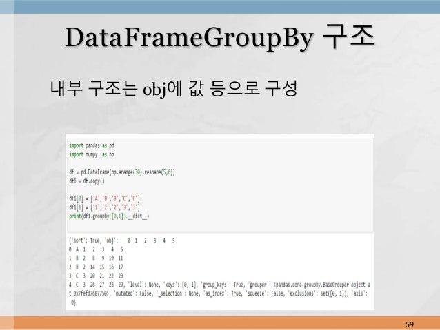 내부 구조는 obj에 값 등으로 구성 59 DataFrameGroupBy 구조
