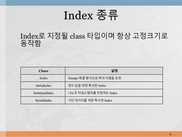 Index로 지정될 class 타입이며 항상 고정크기로 동작함 6 Index 종류 Class 설명 Index Numpy 배열 형식으로 축의 이름을 표현 Int64Index 정수 값을 위한 특수한 Index Datetim...