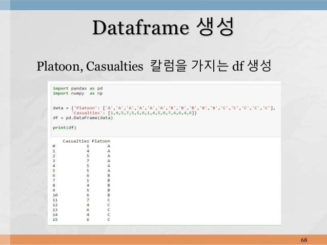 Platoon, Casualties 칼럼을 가지는 df 생성 68 Dataframe 생성