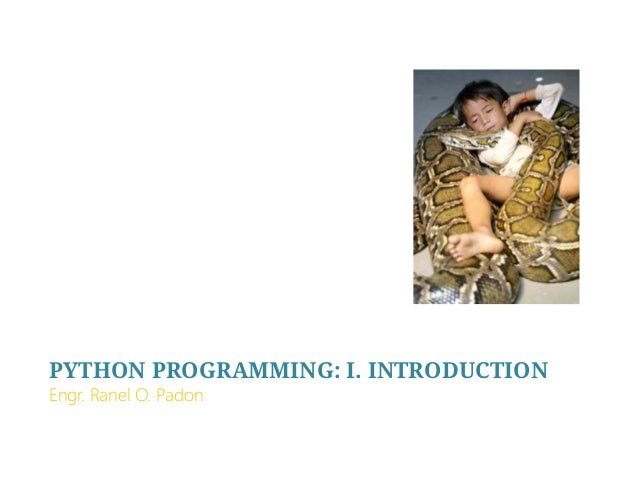 PYTHON PROGRAMMING: I. INTRODUCTION Engr. Ranel O. Padon