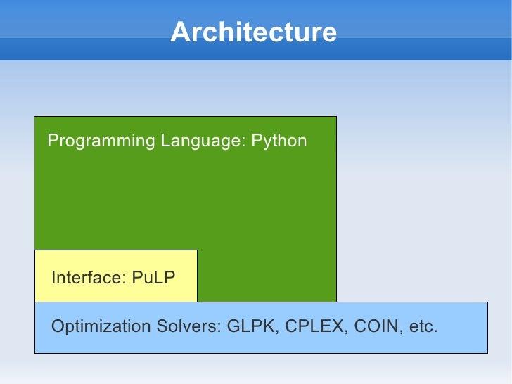 Tutorial: Python, PuLP and GLPK