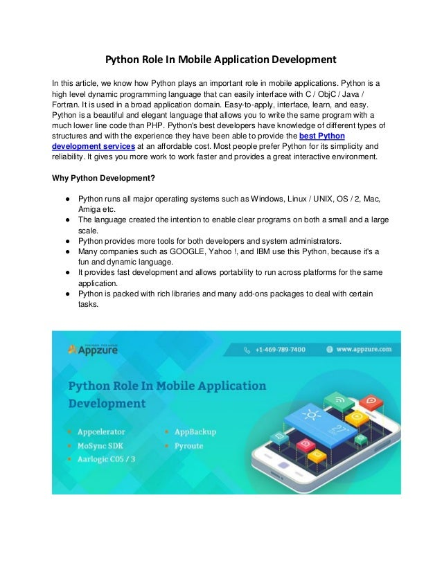 Python Role In Mobile Application Development