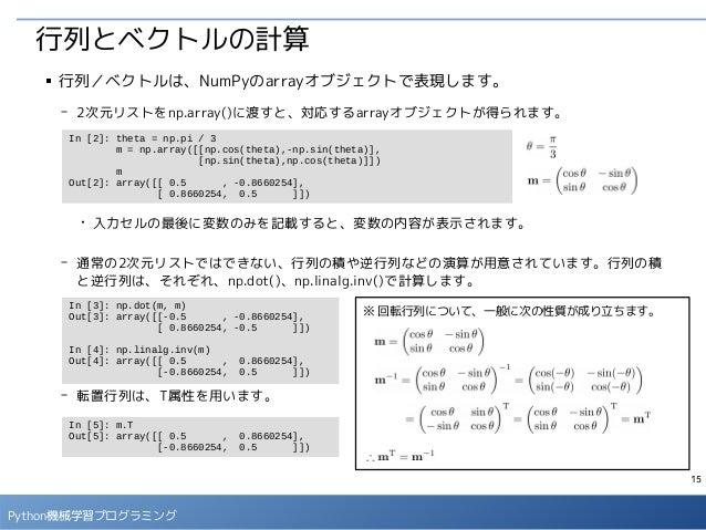 15 Python機械学習プログラミング 行列とベクトルの計算 ■ 行列/ベクトルは、NumPyのarrayオブジェクトで表現します。 - 2次元リストをnp.array()に渡すと、対応するarrayオブジェクトが得られます。 ● 入力セルの...