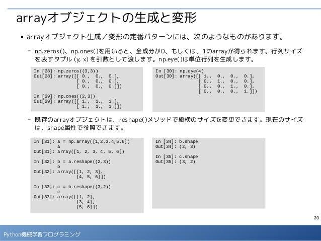 20 Python機械学習プログラミング arrayオブジェクトの生成と変形 ■ arrayオブジェクト生成/変形の定番パターンには、次のようなものがあります。 - np.zeros()、np.ones()を用いると、全成分が0、もしくは、1の...