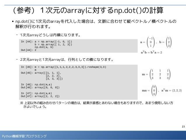 23 Python機械学習プログラミング (参考)1次元のarrayに対するnp.dot()の計算 ■ np.dot()に1次元のarrayを代入した場合は、文脈に合わせて縦ベクトル/横ベクトルの 解釈が行われます。 - 1次元arrayどうし...