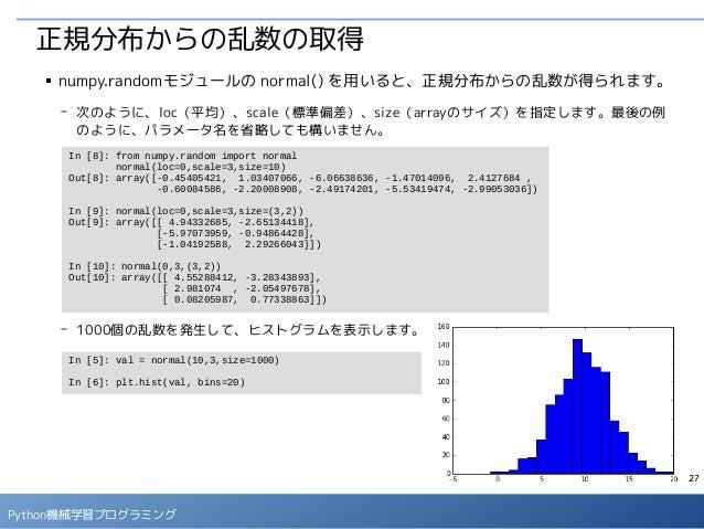 27 Python機械学習プログラミング 正規分布からの乱数の取得 ■ numpy.randomモジュールの normal() を用いると、正規分布からの乱数が得られます。 - 次のように、loc(平均)、scale(標準偏差)、size(ar...