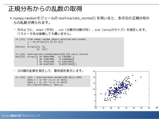 28 Python機械学習プログラミング 正規分布からの乱数の取得 ■ numpy.randomモジュールの multivariate_normal() を用いると、多次元の正規分布か らの乱数が得られます。 - 次のように、mean(平均)、...